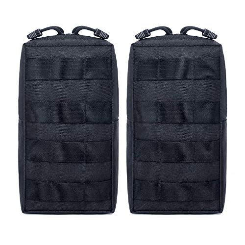 Tacticool 2 Pack Molle Pouches - Tactical Compact Water-Resistant EDC Pouch (2 Pack-Black)