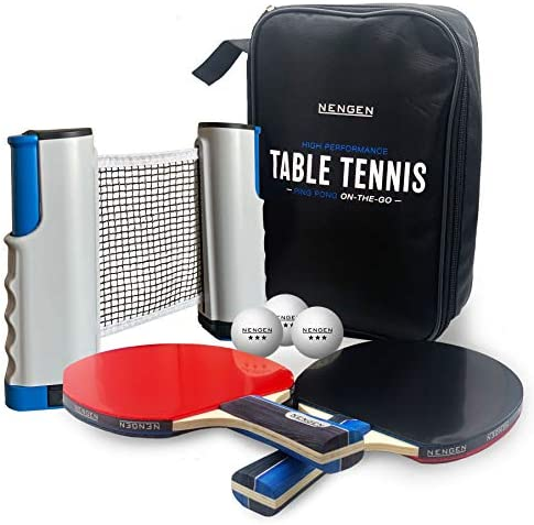 NENGEN Professional Table Tennis Set with Portable Retractable Net 3 Star Professional Grade product image