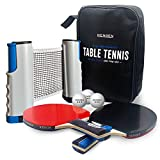 NENGEN Professional Table Tennis Set with Portable/Retractable Net (3-Star) Professional Grade Balls, 2 Ping Pong Paddles/Rackets, Family Indoor or Outdoor Fun, Ping Pong Net Replacement