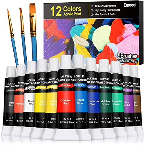 Acrylic Paint Set, Emooqi 12 Premium Colors(22 ml/0.74 oz), 3 Brushes, Rich Pigments, Non Fading Paints for Artist, Hobby Painters & Kids, Ideal for Fabric, Canvas Painting, Crafts, Wood and More