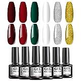 TOMICCA UV Nagellack Set, 8ml 6 Farbe Glitter Weihnachtsset, UV Nagel Design Set UV Farben Nail Gel Polish für Nagelstudios oder Hausgebrauch