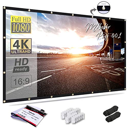 Mdbebbron 120 inch Projection Screen 16:9 HD Foldable Anti-Crease Portable