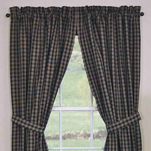 for Sturbridge Panel Curtains Black Tan Plaid Unlined Primitive Country 72WX63L Veryn Supplier for Home Décor Plaques & Signs