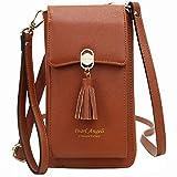 Pearl Angeli RFID Bloqueo Mujer Tarjetas de crédito Monedero Teléfono móvil Cruzado Bolso Bandolera Piel sintética (marrón)
