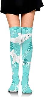 Jesse Tobias, Calcetines hasta la rodilla Calcetines largos de tiburón lindo de dibujos animados Calcetines de compresión de media de arranque para mujeres