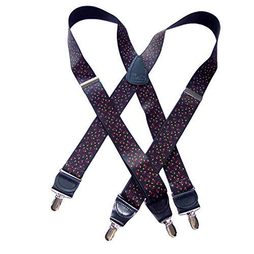 French Horn Pattern 1 1/2' wide Hold-Ups X-back Suspenders with No-slip Nickel plated center pin Clips