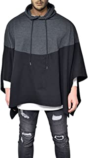 Demetory Men's Oversized Batwing Sleeves Hooded Poncho Cape