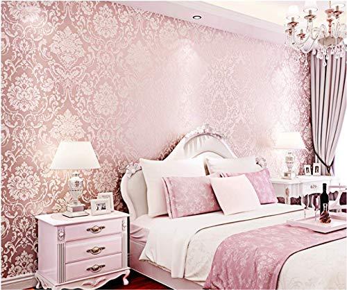 Paño Pintado Rosa De Lujo 3D De La Flor De Damasco No Tejido Papel De Pared Dormitorios Salón Hotel Fondo De Tv Elegante Moderno Fine Decor