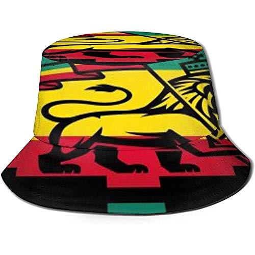 VANOE Bucket Hat Rasta Lion of Judah Sombreros de Pescador Sombrero de Sol Plegable portátil Sombrero de Cubo Empacable Sombrero de Pesca Transpirable a Prueba de Rayos UV y Sol