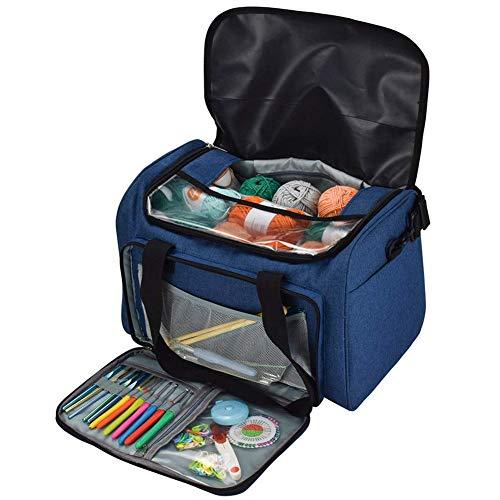 QEES Stricknadeltasche für Garn, Häkelnadeln, Stricknadeln und andere kleine Accessoires, Reisetasche Garn-Aufbewahrungstasche HYGJB980 (Blau)