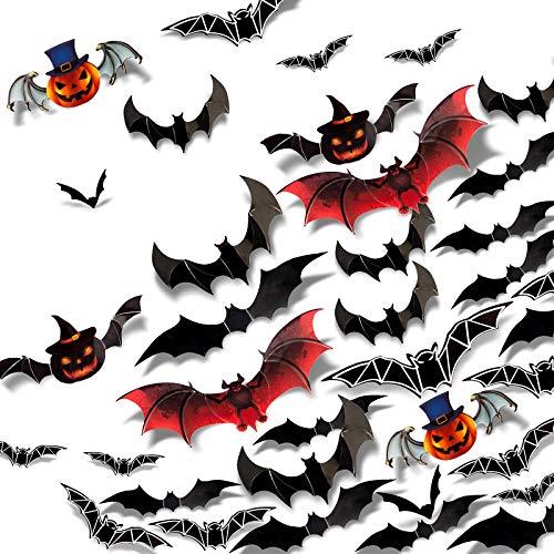MUSCCCM 36 Stück 3D Unheimlich Fledermäuse Wandaufkleber, Fenster Kinder Schlafzimmer Dekor, DIY PVC Abnehmbare Wandaufkleber Aufkleber Dekoration, Halloween Nacht Partyzubehör