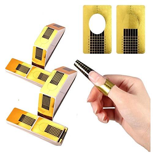 200/Piezas oro Bandeja de papel de manicura: Necesario para la extensión de uñas Plantilla de bandeja de papel de Moldes Guías Pegatinas Formas UV Gel