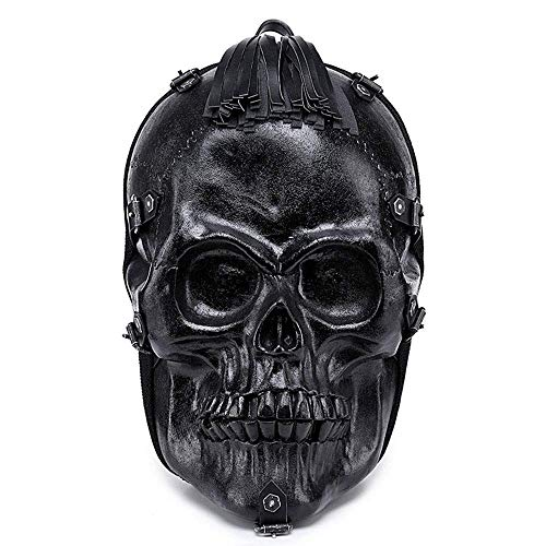 SMILE Mochila 3D Personalizada Calavera Halloween PU Cuero Casual Mochila para portátil Bolsa de Viaje Decorativa,Black,M