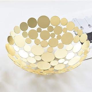 Métal Creative Fruit Basket Bowl Countertop, Grand rond noir décoratif Table Centerpiece Porte-support for légumes fruits,...