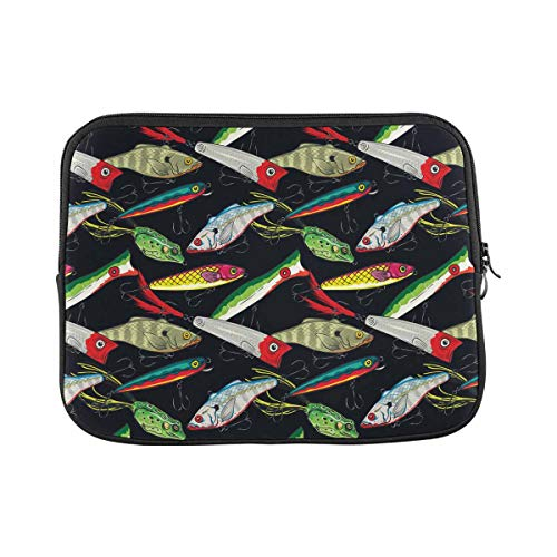 INTERESTPRINT Laptop Neoprene Protective Bag Fishing Bait Print Notebook Protective Sleeve Case Cover 11 Inch 11.6 Inch