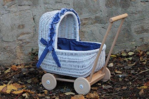 Burkhardt Korbwaren Puppenwagen aus Weide Weiß lackiert mit geflochtenem Verdeck und Holzgriff...Stoff Blau mit Punkten...extra Stabil...