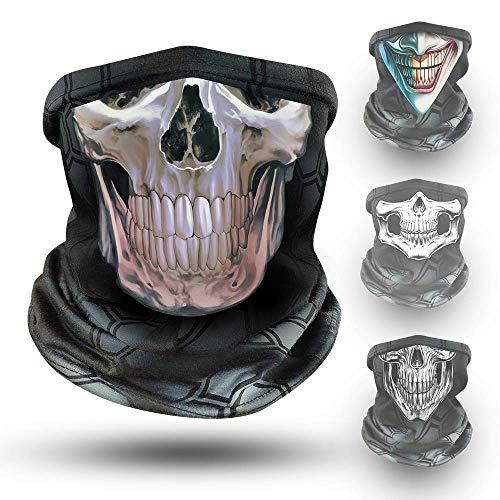 Klangfeiler® Multifunktionstuch - NEUE DESIGNS - Bedrucktes Halstuch Bandana & Schlauchschal - Ein solider Nackenwärmer Totenkopf Skull Gesichtsmaske - Face Shield für Motorradfahren - 3D Skull