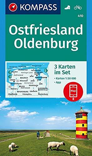 KOMPASS Wanderkarte Ostfriesland, Oldenburg: 3 Wanderkarten 1:50000 im Set inklusive Karte zur offline Verwendung in der KOMPASS-App. Fahrradfahren. (KOMPASS-Wanderkarten, Band 410)