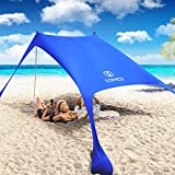 Pop Up Beach Tent Sun Shelter, Cophcy Portable Beach Canopy UPF50+ with Sand Shovel, Aluminum Poles, Sandbag Anchors, Outdoor Shade for Camping ,Surfing, Backyard Fun or Picnics (7.2x7.2FT 2 Poles)