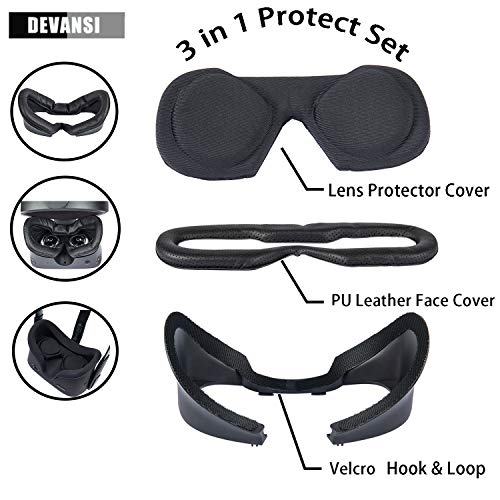 VR Face PU Leather Facial Interface Foam Cover Pad Replacement & Lens Protect Cover Dust Proof Cover Anti-Dust Lens Protector for Oculus Rift