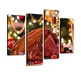 haiilone Lienzo para Pared, diseño de Pavo de Navidad, 4 Paneles, X10, 30x60cmx2pcs+30x80cmx2pcs