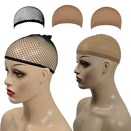 Vovotrade®3pcs Filet à Cheveux Femme casquettes de perruques élastiques en nylon Perruque Cheveux Lot de 3 caches en maille filet à cheveux Tissage Net Perruque (1 * noire 2 * beige) (Noir + Beige)