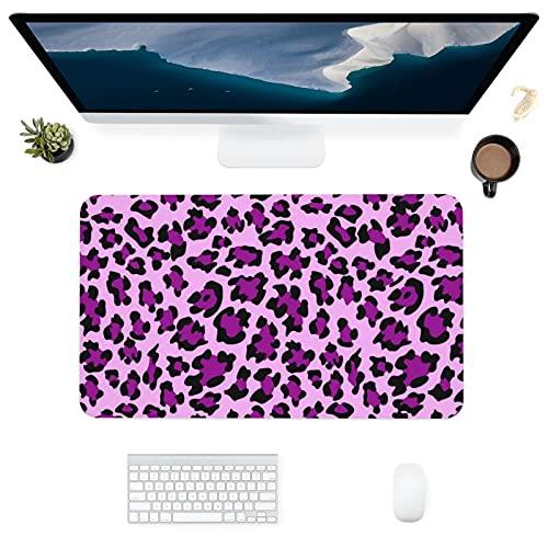 HUBNYO Alfombrilla de escritorio de piel con estampado de leopardo morado, superficie lisa, fácil de limpiar, resistente al agua, protector de escritorio para la oficina/el hogar juegos