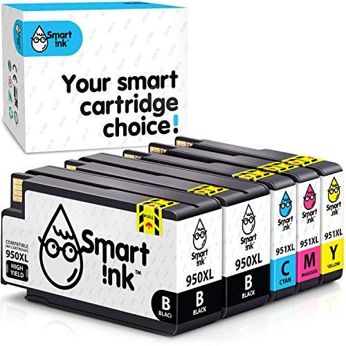 Smart Ink Kompatible Druckerpatronen als Ersatz für HP 950XL 951XL 950 XL 951 XL 5 Multipack (2 Schwarz & Cyan Magenta Gelb) Patronen Hohe Ergiebigkeit für HP Officejet Pro 8100 8600 8620 8615 8616
