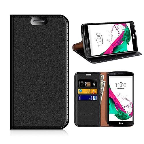 MOBESV LG G4 Hülle Leder, LG G4 Tasche Lederhülle/Wallet Hülle/Ledertasche Handyhülle/Schutzhülle mit Kartenfach für LG G4 - Schwarz