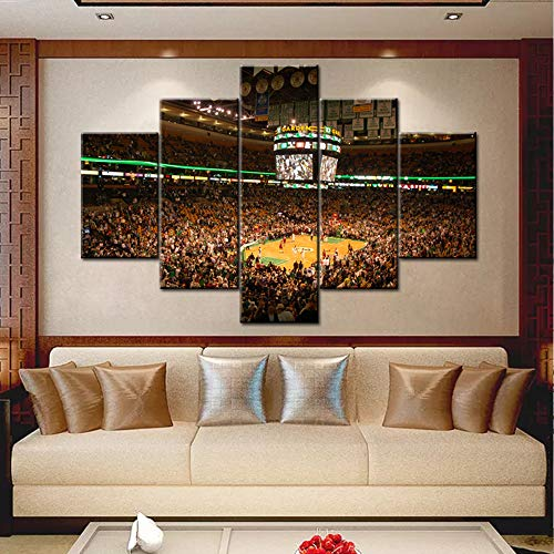 5 Pcs Canvas Wall Art Boston TD Banknorth Garden Arena Pictures Boston Celtics Home Stadium Painting Canvas Artwork Home Decor for Living Room with Framed Ready to Hang Posters and Prints 60''Wx40''H
