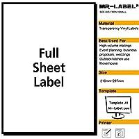 Mr-Label 超耐水&強粘着 透明な大Mr-Label 超耐水&強粘着 透明な大判 ラベルシール 高級紙使用!カラーレーザー使用できる判 ラベルシール 高級紙使用!カラーレーザー使用できる (10枚)