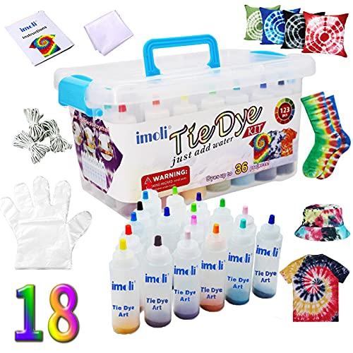 imoli Tie Dye Kit Textiles de Tela 18 Colores Permanente neón Pinturas no tóxico Set de Arte Juego de teñido Anudado de un Solo Paso para niños, Adultos, Bricolaje de Moda