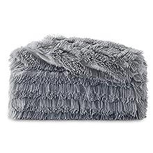 Bedsure Manta Sofa Pelo Largo - Manta Cama 90 Gris de Terciopelo Peluche, Manta Cubre Sofa Invierno Reversible con Piel Sintética Suave y Polar, 150x200 cm