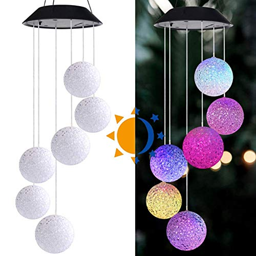 Solar Powered Wind Chime Light, LED Garden Hanging Spinner Lamp, Solar Garden Lights, Color Changing, 6 Crystal Ball Light for Courtyard Wedding Party Christmas (1 PC)