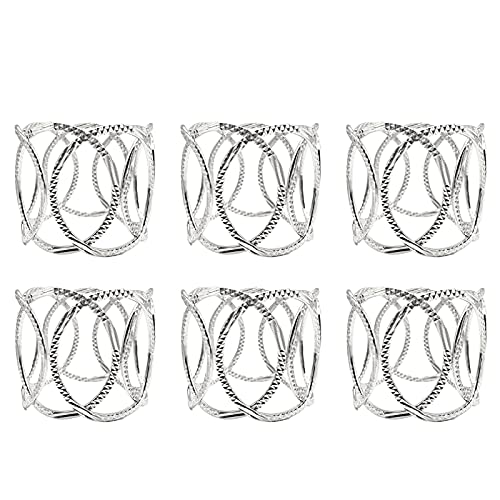 CJFael 6Pcs Napkin Rings Set Serviette Rings Sturdy Reusable Smooth Christmas Silver Color Napkin Buckles for Wedding for Dinning Table Parties Plata