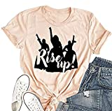 Women's Rise Up Hamilton T Shirts Short Sleeve Crewneck Young Scrappy & Hungry Graphic Musical Tees (Pink, M)