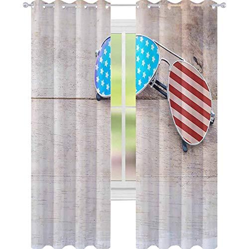 YUAZHOQI Cortinas de oscurecimiento de habitación Espejo Gafas de sol con patrón de bandera americana cortinas para sala de estar 132 x 160 cm