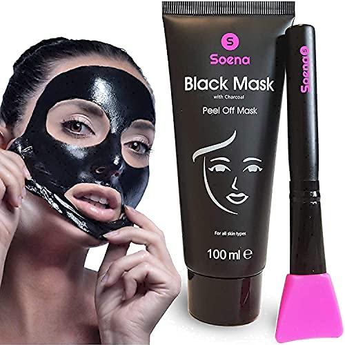 Das ORIGINAL - SOENA® Black Mask + MASKENPINSEL | XXL Tube 100 ml | Entfernt Mitesser – Peel-Off Maske - Gegen unreine Haut | Mit Aktivkohle | Schwarze Maske zum abziehen - Blackhead Maske