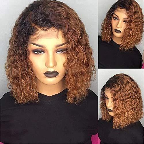 peluca,Pelucas europeas y americanas Pelucas de pelo corto rizado pequeas africanas femeninas, Casco de pelo corto y rizado marrn degradado negro