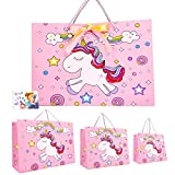 Gift Bags Unicorn 10 Pack Assorted Sizes Ideal Party Goody Treat Gift Wrapping Bags for Birthday Parties Teachers' Day Mothers' Day Baby Shower