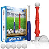 Kids Baseball Tee, T-Ball Set for Toddlers Sport Toy Game Includes 6 Balls- Adjustable T Height, Fun Toddler t Ball Set Adapts with Your Child's Growth Spurts, Improves Batting Skills for Boys &Girls