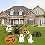WENWELL Halloween Yard Signs with Stakes Decorations Outdoor,Scary Witch Tombstone Pumpkin Ghosts Boo Garden Lawn Party Decor