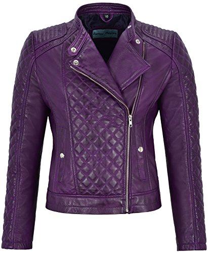 Smart Range Chaqueta de Cuero Real de Mujer Chaqueta de Cuero Color púrpura Estilo Biker con Forma de Diamante