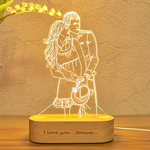 QINXI 3D Lamp Photo&TextNight Light Wedding Anniversary Birthday Mother's Day Father's Day Gift