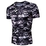 SSBZYES Verano Camiseta para Hombre Camiseta De Manga Corta para Hombre Camiseta De Cuello Redondo para Hombre Camiseta Casual Código Europeo Campo De Batalla Escote De Camuflaje Botón Manga Corta