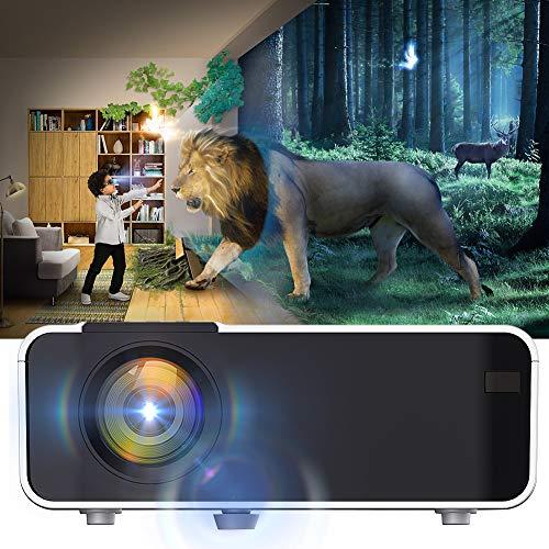 Proyector LED WiFi, portátil Ultra HD LED 4K Beamer Bluetooth 1080P con Control Remoto 110-240V(Enchufe de EE. UU.)