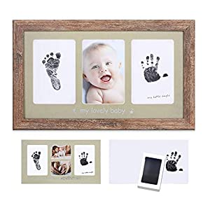 Baby Ink Handprint Footprint Kit&Frame – Handprint Picture Frame Kit for Newborns (Safe Clean-Touch Ink) – Babyprints Keepsake for Boys&Girls, Nursery Memory Art Kit, Baby Shower Frame