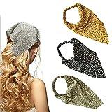 Yean Boho triángulo cabeza pañuelo amarillo diadema gasa flor bufanda pelo elástico banda para el pelo para mujeres y niñas (paquete de 3)
