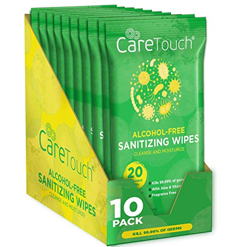 Care Touch Alcohol Free Hand Sanitizer Wipes - 10 Travel Packs of 20 Count Each...