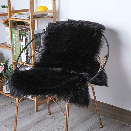 ZPX Alfombra mullida, Alfombra de Piel de Oveja,Alfombra de Piel sintética,universales alfombras de Varios tamaños utilizadas en pbedroom, Sala de Estar,Silla o sofá(Negro, 60x90cm)